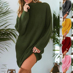 Loose Round Neck Long Sleeve Knitting Casual Dress