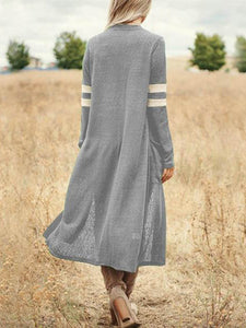 Loose Pure Color Stripes Long Sleeve Cardigan With Pockets