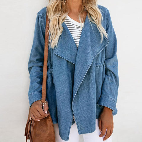 Fashion Lapel Long Sleeve Plain Denim Jackets