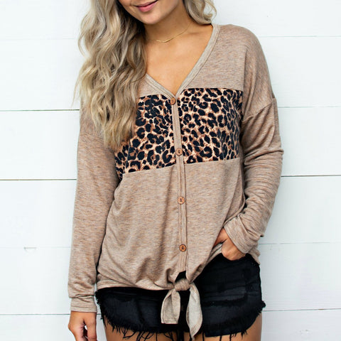 Casual Chic Loose Leopard Print Button V Collar Long Sleeve Blouse