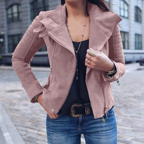 Fashion Lapel Long Sleeve Plain Zipper Jackets