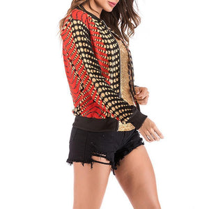 Fashion Gradient Printed Long Sleeve Zipper Jackets