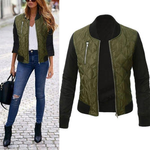 Round Neck Long Sleeve Patchwork Zipper Pocket Jackets
