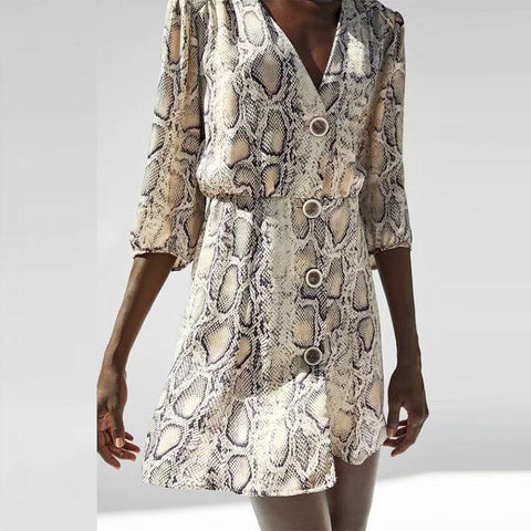 V Neck Button Half Sleeve Snake Printed Casual Dress