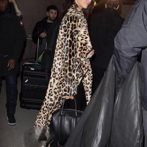 Fashion Lapel Long Sleeve Leopard Fur Maxi Coats