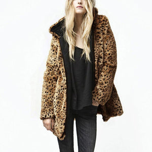 Hooded Zipper Long Sleeve Leopard Fashion Fur Coats