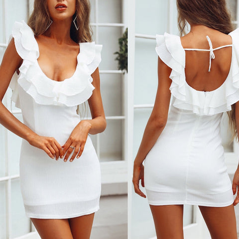 Sexy V-Neck Halter Ruffled Hip Dress