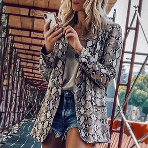 Fashion Long Sleeve Leopard Print Outerwear