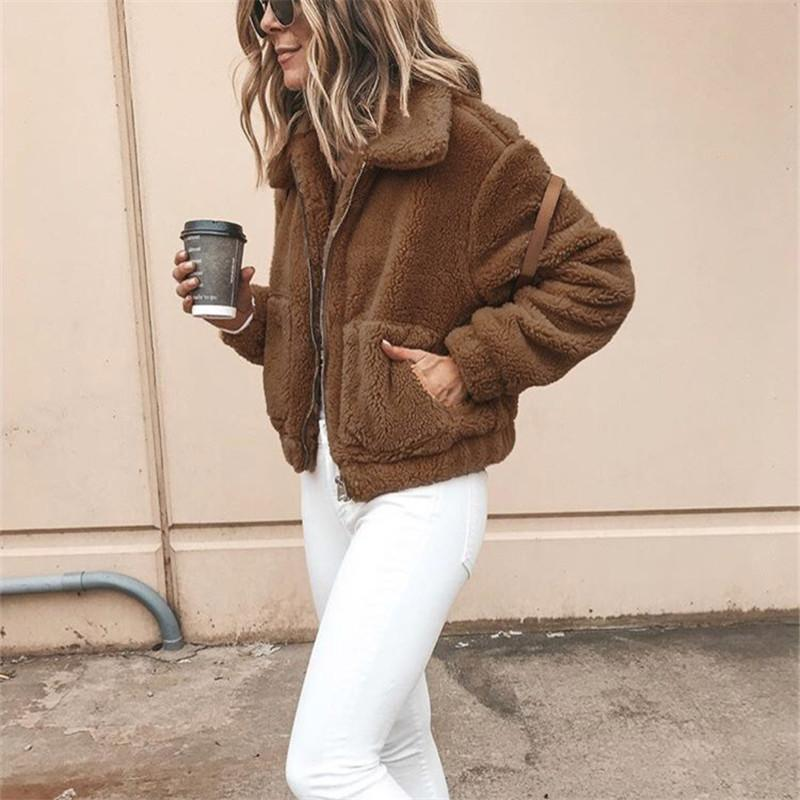 Autumn And Winter Fashion Long-Sleeved Zipper Plush Jacket