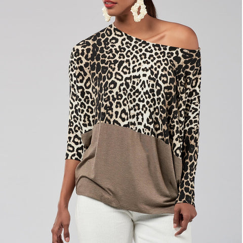 Off-Shoulder Long   Sleeves Leopard Grain Printed Splicing Top