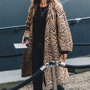 Elegant Stylish Loose Leopard Print Long Sleeve Coat