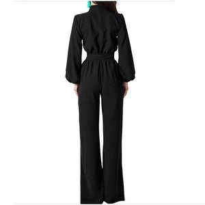 Sexy V-Neck Jumpsuits   With Wide Legs