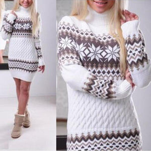 Turtle Neck Snow Printed Long Sleeve Knitting Bodycon Dress