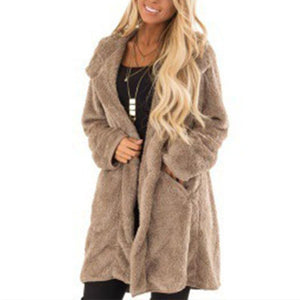 Lapel Faux Fur Long Sleeve Pocket Coats