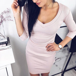 Sexy V Neck Long Sleeve Plain Knitting Bodycon Dress