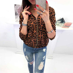 Fashion Leopard Printed Hooded Zipper Long Sleeve Jackets