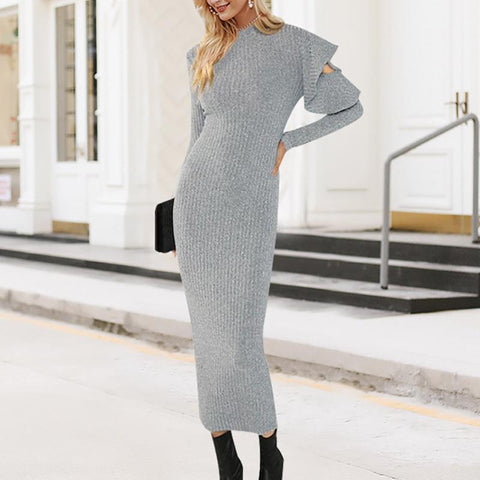 Casual Ruffled Sleeve Elastic Pure Colour Knitted Dresses