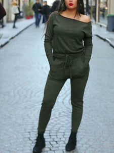 Casual Pure Colour Sloping Shoulder Sport Jumpsuits