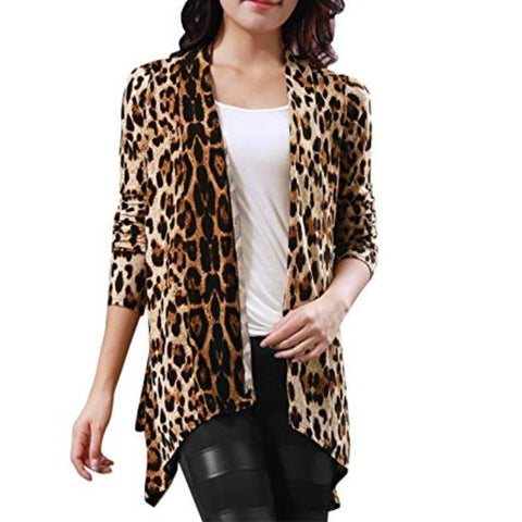 Long Sleeve Plus Size Leopard Printed Cardigans