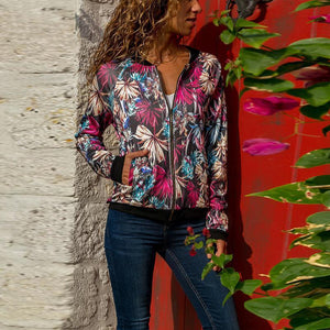 Round Neck Ribbon Floral Printed Zipper Jackets