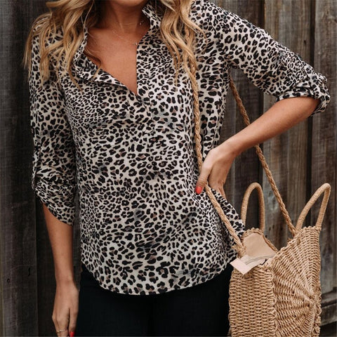 Fashionable Temperament Leopard Print Shirt