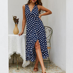 Female V Collar Wave Point Sleeveless Irregular Skirt Casual Dress