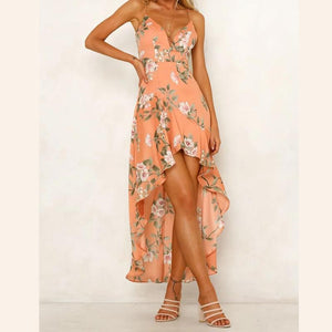 Sexy Sleeveless Sling Irregular Printed High Waist Dress