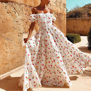 Summer Tube Elastic Waist Printed Vacation Maxi Dress