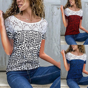Round Neck Short Sleeve Lace Leopard Printed Patchwork T-Shirts