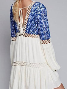 Deep V-Neck  Tassel  Bohemian  Bishop Sleeve Skater Dresses