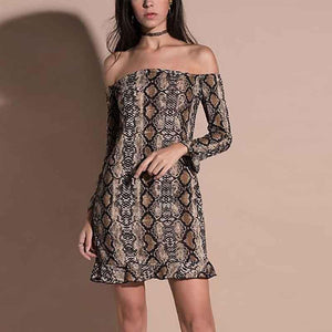 Off Shoulder  Cutout Flounce Ruffle Trim  Contrast Stitching  Animal Printed  Petal Sleeve Bodycon Dresses