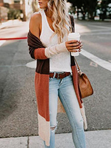 Fashion Color Block Long Sleeve Cardigans