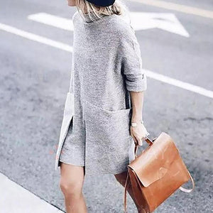High Collar Pullover Long Knit Casual Dresses