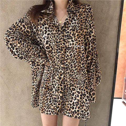 Slimming Wild Leopard Shirt Dress Cardigan