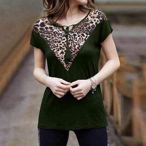 Casual Printed Colour V Neck Leopard Print T-Shirt