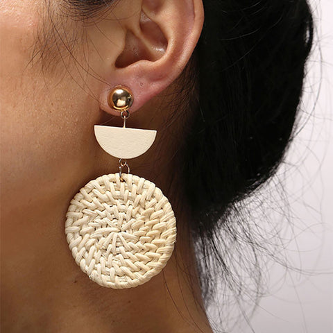 Fashion Woven Round Wooden Earrings