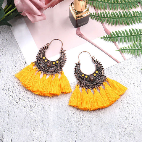 Fashion Cutout Geometric Oval Fringe Earrings