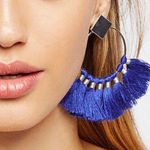 Fashion Ring Braided Bohemian Tassel Earrings