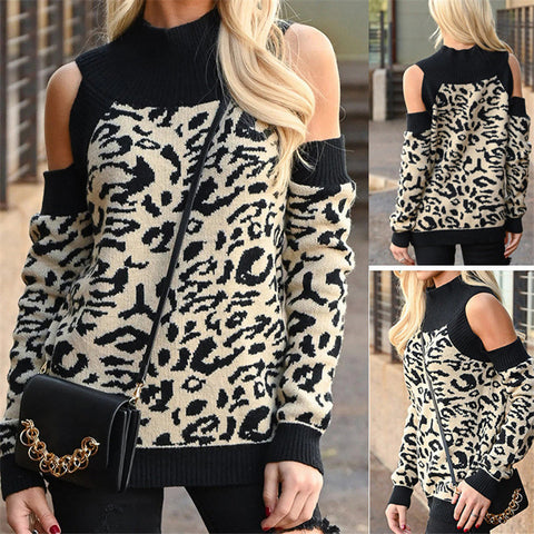 Leopard Print Off-The-Shoulder Latest Hood