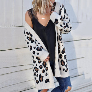 Fashion Leopard Print Pockets Loose Sweater Cardigan