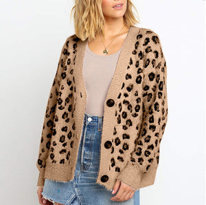 Casual V Neck Leopard Print Long Sleeve Cardigans