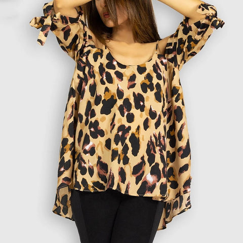 Fashion 3/4 Sleeve Bare Back Leopard Print Belted T-Shirt