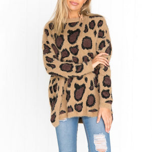 Casual Knit Round Neck Long Sleeve Printed Colour Sweater