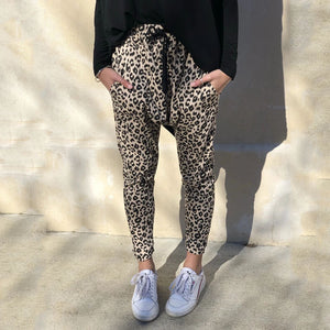 European And American Style Leopard Print Street Knit Pants
