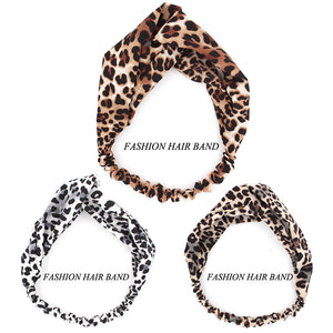 Women's Cotton Leopard Sports Yoga Cross Hair Band