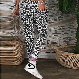 European And American Leopard Drawstring Pants