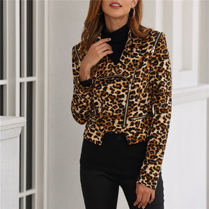 Women's Leopard Print Long Sleeve Jacket