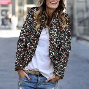 Women's Modern Paillette Long Sleeve Decorative Button Jacket