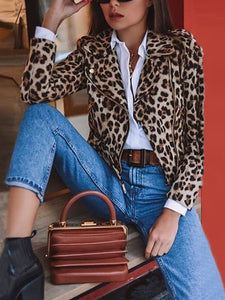 Women's Fashion Turndown Collar Leopard Print Decorative Button Long Sleeve Jacket