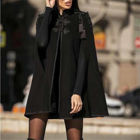 Solid Color Embroidered Cloak Sleeve Blazer